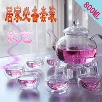 High temperature resistant glass flower pot set 8 glass tea set