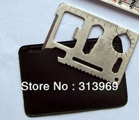 1000pcs/lot Survival Tool Pocket Survival Camping Tool with Leather Case 11 Function Card Knife