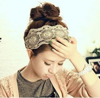 2013 fashion women's headband,lace flower hair band,10cm wide stylish hair accessory free shipping