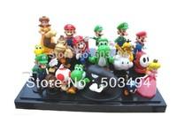 High Quality PVC Super Mario Bros Luigi Action Figures 18pcs youshi mario Gift OPP retail