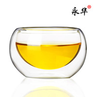 Yonghua heat-resistant glass tea set double layer cup transparent tea cup handmade glass flower tea cup