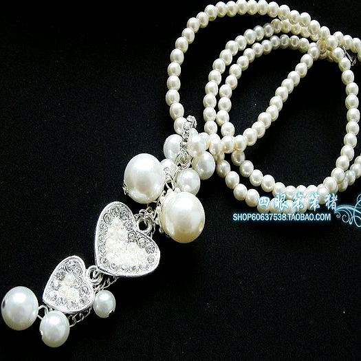 A151 female long design necklace love pearl double necklace long necklace pendant(China (Mainland))