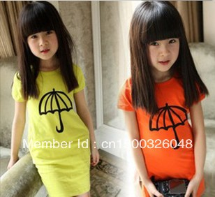 Free Shipping Children's clothing girls summer 2013 100% cotton one-piece dress short-sleeve T-shirt slim hip(China (Mainland))