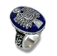 Sitcoms vintage silver natural lapis lazuli ring