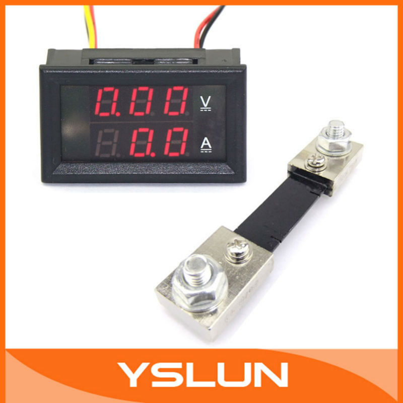 100 PCS/LOT YB27-VA DC Voltmeter Ammeter 2-in-1 0-100V/100A Red LED Amper Voltage Measure + Resistive Shunt #100044(China (Mainland))