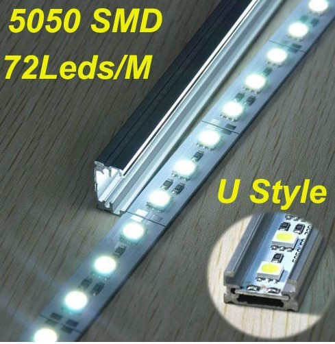 Free shipping Rigid Aluminum Led Strip Light 12V DC 100cm SMD5050 72SMD For Cabinet Light Bar/Caravan/Boat with aluminum housing(China (Mainland))