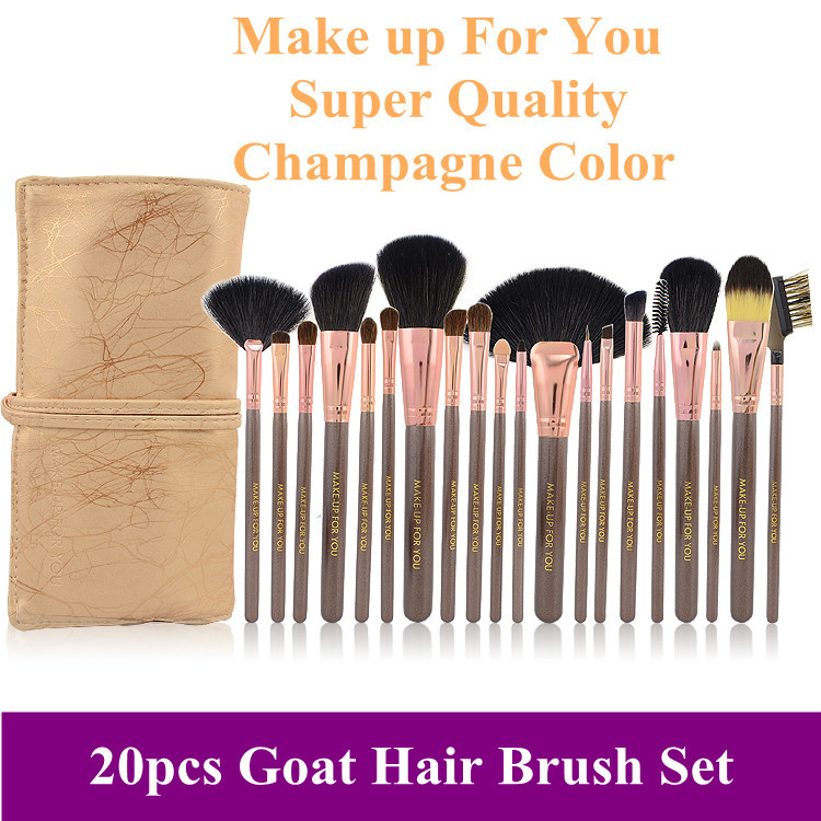 2013 New Professional Brushes Set, Brown 20pcs Make up Tools Brushes Goat Hair Brush Kit & Leather Bag, Free Shipping(China (Mainland))