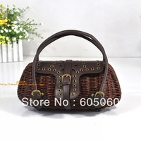 Free shipping 2013 fashion Vivi magazine new bamboo rattan braided belt agio straw handbags female bags