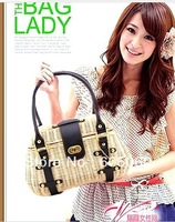 Free shipping 2013 new hand-made bamboo rattan pu belt braided straw bag ladies handbags vivi magazine
