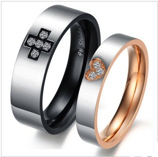298 Black and Gold Unique Creative Cross Heart Crystal Stainless Steel Couple Love Promsie Rings Never Fade Great Gif(China (Mainland))