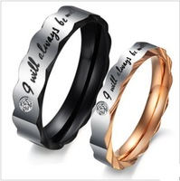 Black and Gold Unique Creative Crystal Stainless Steel Couple Love Promsie Rings Never Fade Great Gift Largest Size for Choice