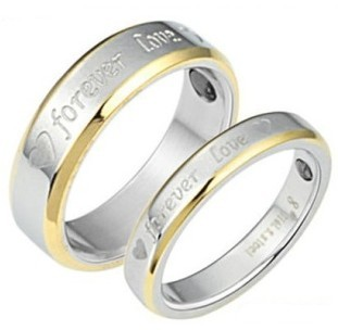 One Pair Anti-Fatigue Radiation Titanium 18K Gold Plated Couple Love Promise Ring(China (Mainland))
