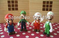Free Shipping 8pcs/lot Super Mario PVC Figure Mario Luigi Fire Mario Fire Luigi Figure Toy Dolls 4 Styles