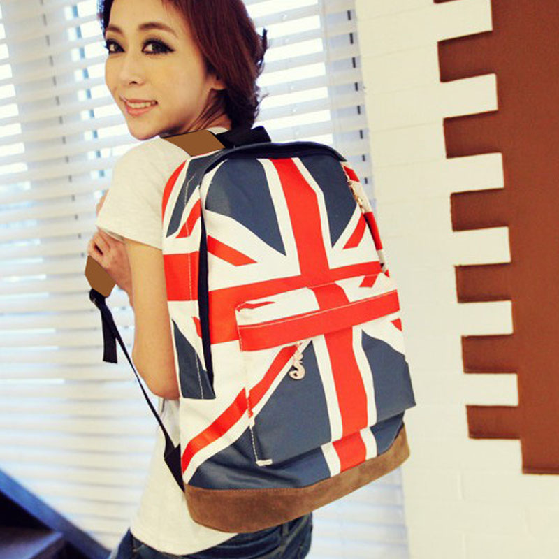 2013 fashion handbag bag m word flag american flag fashionable casual backpack middle school students school bag free shipping(China (Mainland))