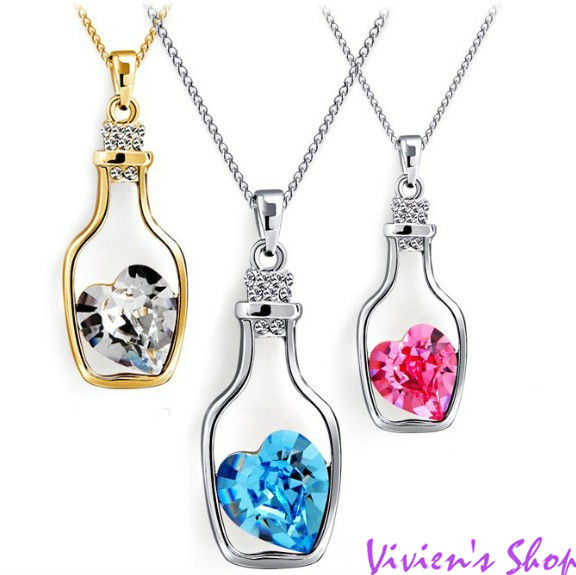 Wholesale Shining Heart Austria Crystal Drift Bottle Necklace love gift for women CN014 Free shipping(China (Mainland))