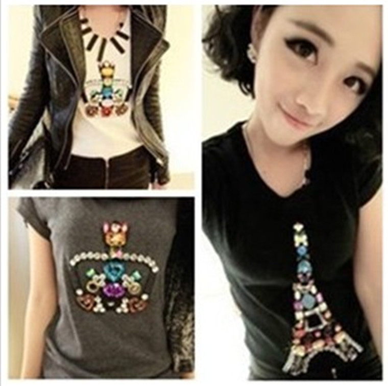 New Spring and Autumn colored gemstones Crown Tower bottoming T-sleeved female super good quality,Free Shipping!(China (Mainland))