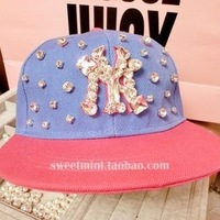 Free Shipping 2013 New Snapback Hats Fashion Handmade Rhinestone Woman Ice Ceam Color Adjustable Baseball Cap