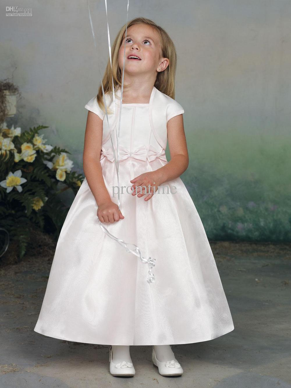 Hot Sale Bows Ankle-length Satin Wedding Flower Girl Dress Girls Pageant Dresses & Jacket F385(China (Mainland))