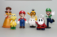High Quality PVC Super Mario Bros Luigi Action Figures 6pcs/set youshi mario Gift OPP retail