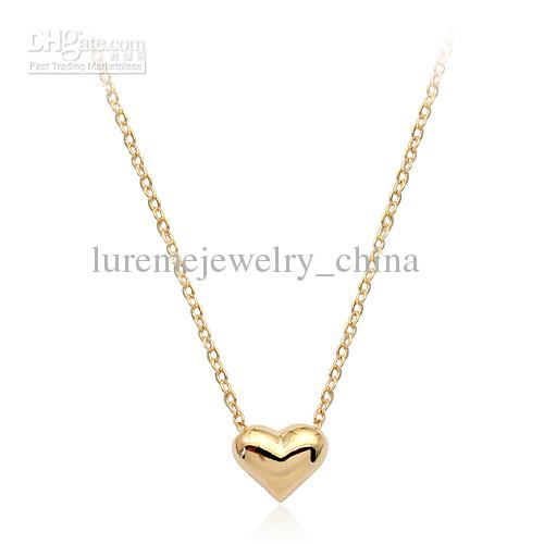10 pcs heart Pendant Necklace vintage 2013 golden chain crystal fashion jewelry gold new arrival(China (Mainland))