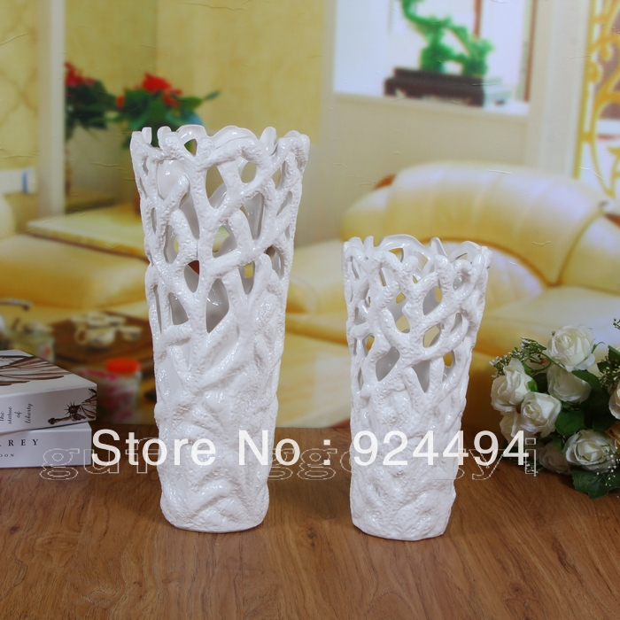 Brief modern ceramic cutout white vase flower decoration flower pot countertop French dining table(China (Mainland))