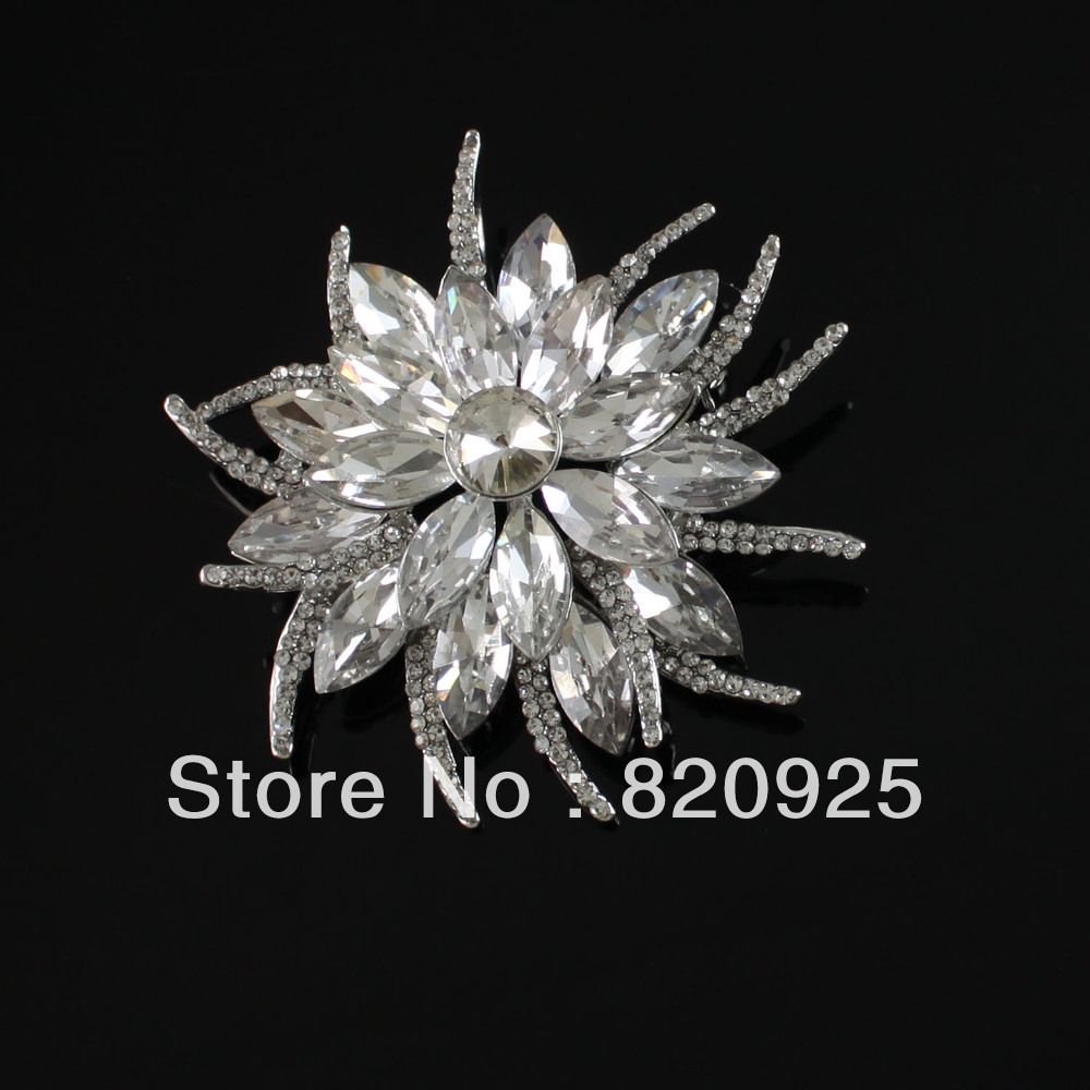 1 X Stunning Clear Crystal Rhinestone Wedding Bridal Flower Brooch Pin Gift(China (Mainland))