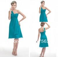 Free shipping beautiful one shoulder knee length chiffon bridesmaid dress BD027
