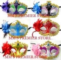 Free EMS+100pcs/lot Halloween Princess Coloured Drawing Rose Party Masks Party Show Masks