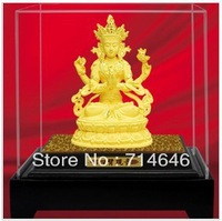 F8005 24K Gold Art  Gift  hot sales- Tibetan buddhist sculpture/ sitting buddha sculpture with a lotus pedestal