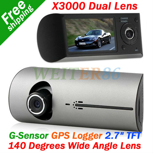 2.7'' TFT LCD Screen Dual Camera Lens X3000 Vehicle Camera Recorder GPS Logger 140 Degree Wide Angle Car DVR(China (Mainland))