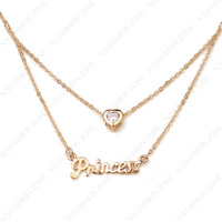 Lovely Princess Heart pendant Necklace 18K Rose Gold Plated Use SWA Elements Crystal Princess Heart pendant Necklace N260R1