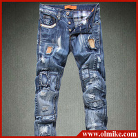 HOT!!!2013 summer fashion beggar patch of jeans man's large size 32-40 slim fit trouser mens casual denim jeans C436