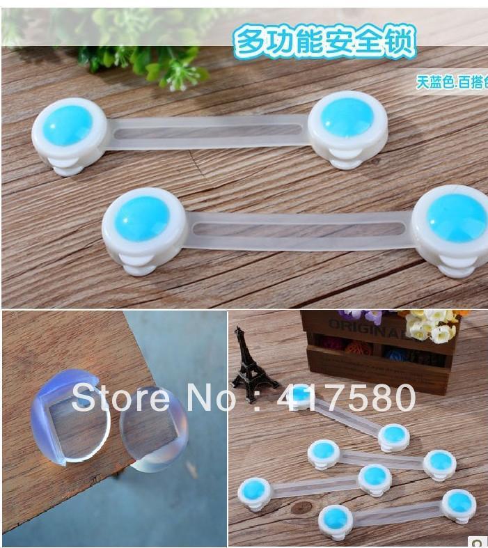 Free Shipping 20pcs/Set (10pcs Door Drawers Kids Baby Safety Lock + 10pcs table corner cover ball)(China (Mainland))