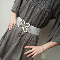 Free Shipping Fashion Belts Cutout P41 Bow Belt Elastic Wide Cummerbund Wholesales Black and Silver Color