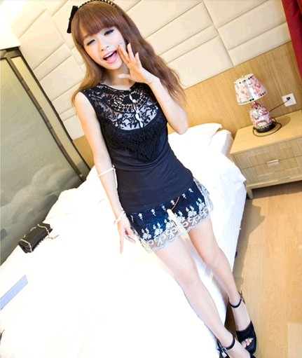 Real pictures with model 2013 summer small ladies all-match Women crochet vest(China (Mainland))