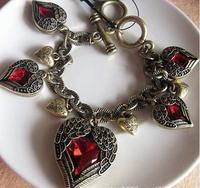 C2 fashion vintage punk vintage ruby heart wings bracelet women's (can mix order)