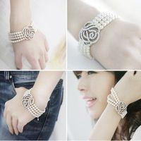 C36 full rhinestone rose romantic noble accessories girls multi-layer pearl bracelet 18g (can mix order)