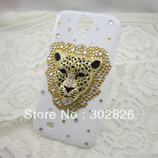 Free Shipping Leopard Head Bling Hard Case For Samsung Galaxy SIIII S4 i9500(China (Mainland))