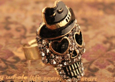 free shipping Punk Skull Ring Wholesale(China (Mainland))