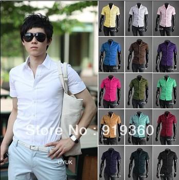 solid color men's shirt fashion Slim men's casual short-sleeved shirt casual men wild,free shipping