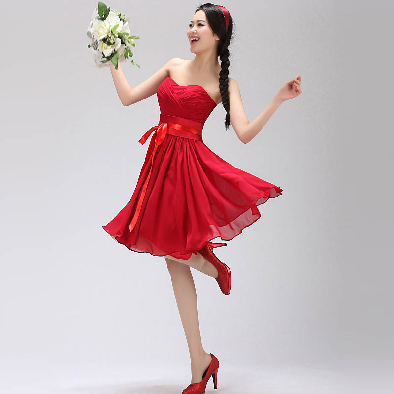 2013 summer chiffon bride bridesmaid dress dinner dress mini lady dress factory price 7 colors, 10% off if buy more than 5 pcs(China (Mainland))