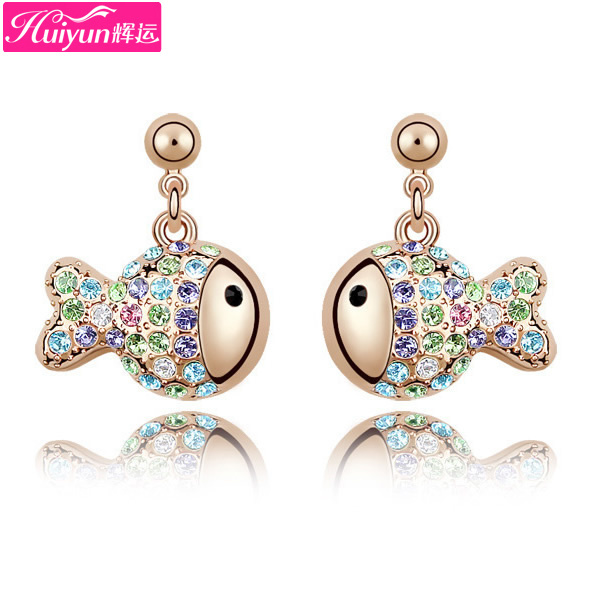 Huiyun austria crystal rich fish stud earring rose gold earrings earring accessories(China (Mainland))
