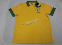 NEW SEASON!!!Brasil Home Yellow Soccer Jersey 13/14,Player Version Thailand Quality Brasil Soccer Shirt+free Shipping