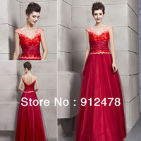 Free Shipping ConieFox 2013 New Arrival Women Red V-neck Sleeveless Long Elegant Evening Dresses Prom Gown Patry Dress 30160