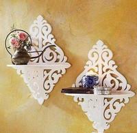Rustic white wall clapboard shelf brief shelf cutout decoration shelf