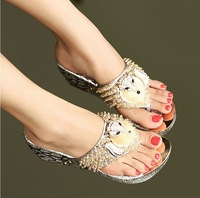 2013 luxurious fashion rhinestone small fox flip-flop sandals thick heel high-heeled slippers flip flops shoes female HR0218-3