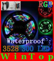 Waterproof 5M 3528 RGB 300Leds SMD Flexible Light Strip+24key IR Remote+12V 3A Power Supply Free shipping