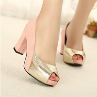 Free Shipping Spring/summer 2013 Fashion High Heels Ladies Shoes Mixtz High Heels Waterproof Platform Fish Head Shoes Pumps