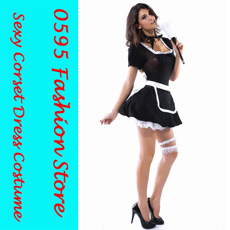 Free Shiping !Woman 3Pcs Black And White Midnight Maid Costume(Dress+Apron+Ribbon For Hair) HL8363(China (Mainland))