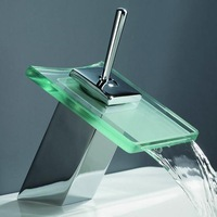 Square bathroom copper basin hot and cold glass waterfall faucet